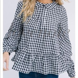 lovenote Tops - COTTON GINGHAM LONG RUFFLE SLEEVE TOP TIE BACK